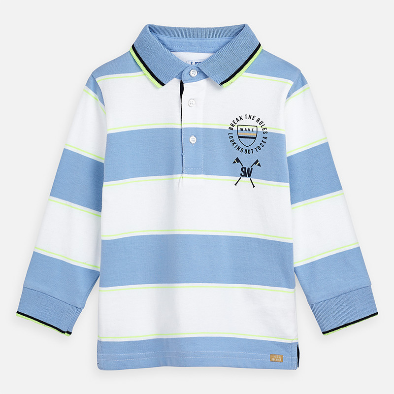 Mayoral Boys Polo Shirt L/ S stripes  3159- 041. Before £17.95