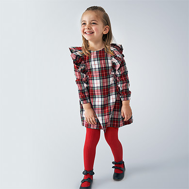 MAYORAL Girls Dress Ruffled Checked 4977-065 NOW £13.95