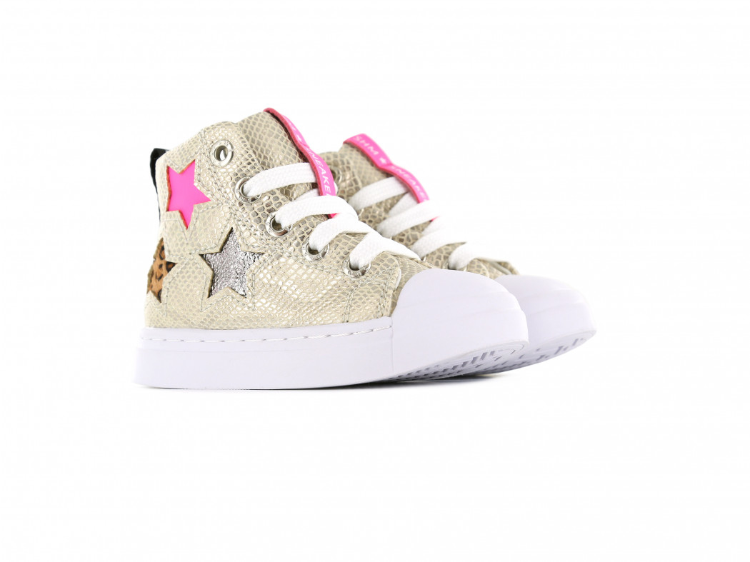SHOESME GIRLS Light Gold Snake Trainers SH21S005-B