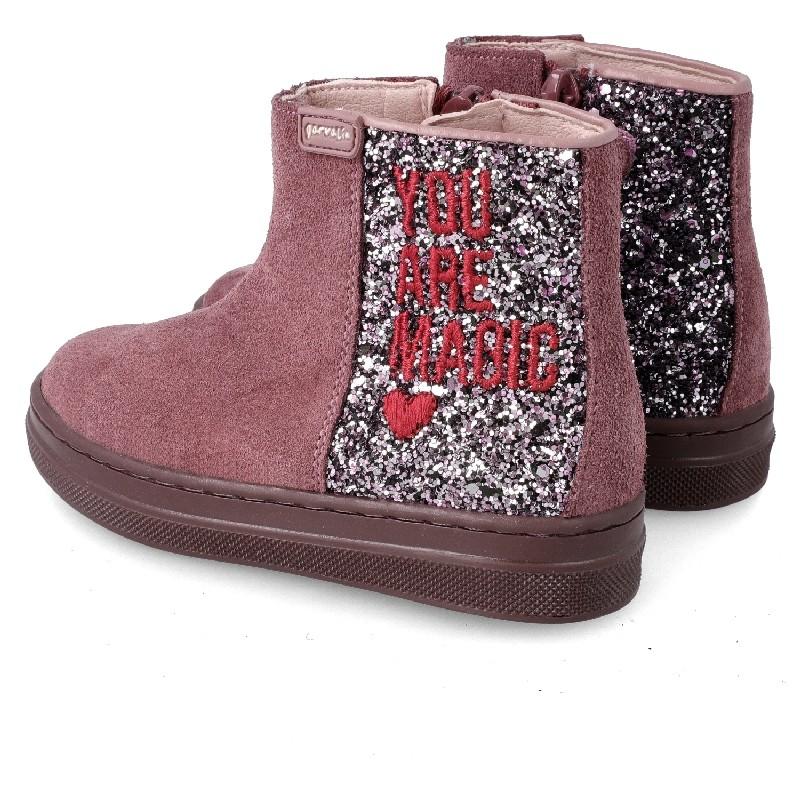 GARVALIN  Girls purple suede glitter boots 201637
