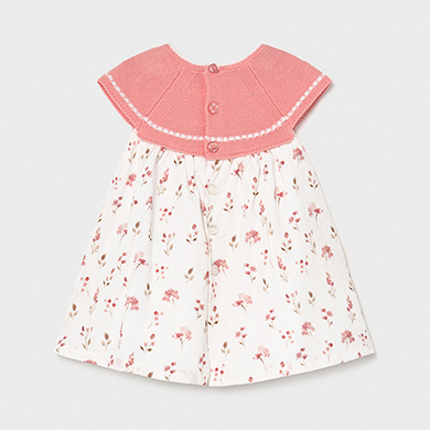 MAYORAL NEWBORN GIRL Dress Tricot Combined 1805-086 NEW SEASON