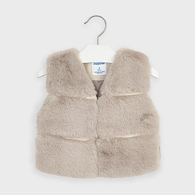 MAYORAL Girls Faux Fur Vest Sand 4351-011 NOW £13.95