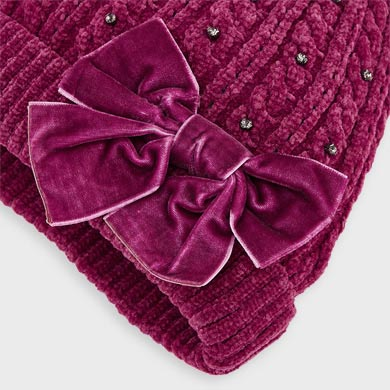 MAYORAL Girls Chenille hat and scarf set for girl. Cherry. 10896-083