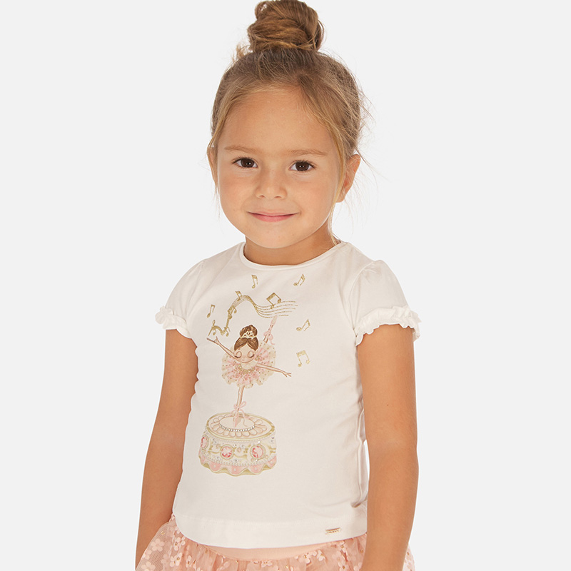 MAYORAL Girls T-Shirt Ruffled sleeves ballerina 3001-066
