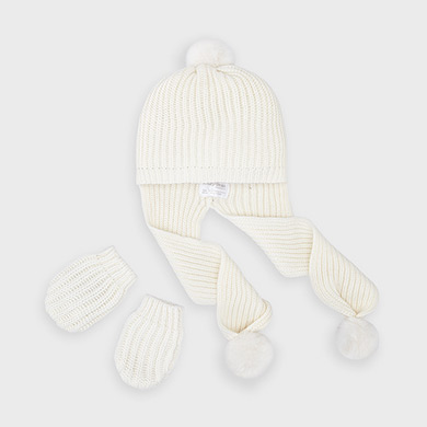 MAYORAL Boys/Girls Hat & Gloves Natural 9315-025  NOW £9.95