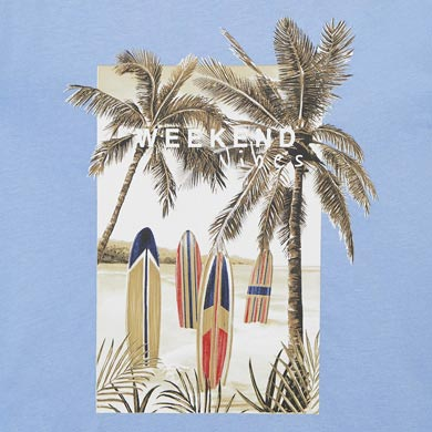 MAYORAL BOYS T-Shirt Sustainable Cotton' Palms and Surf' Blue 3032-066