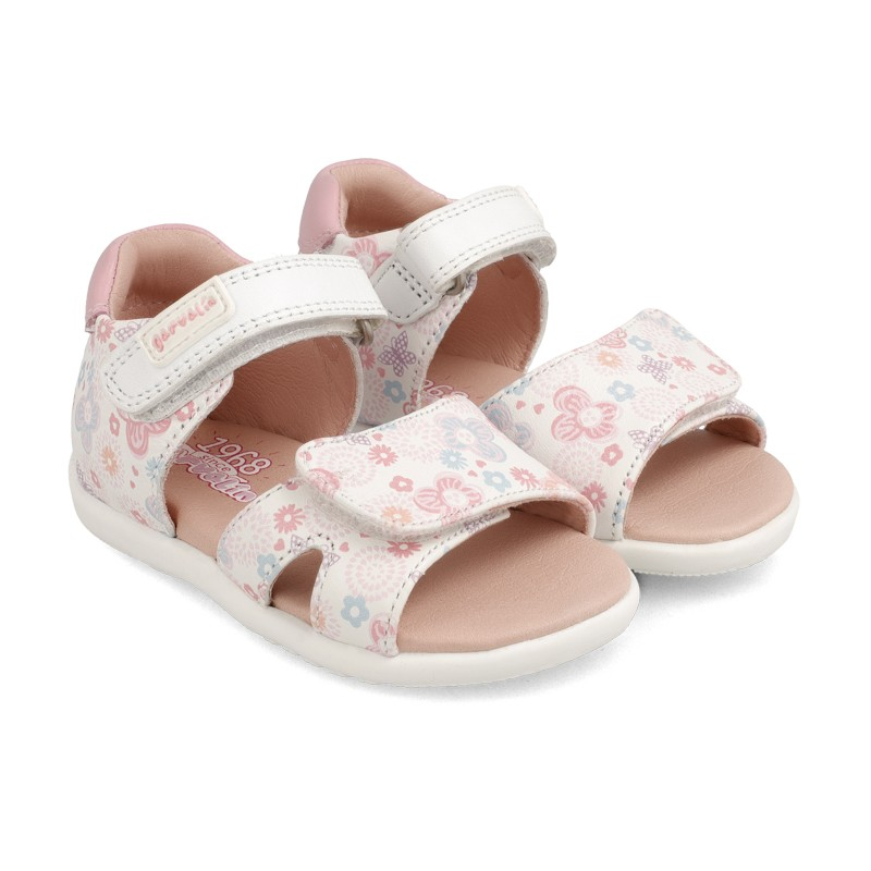 GARVALIN Sandals White and Flowers 202307