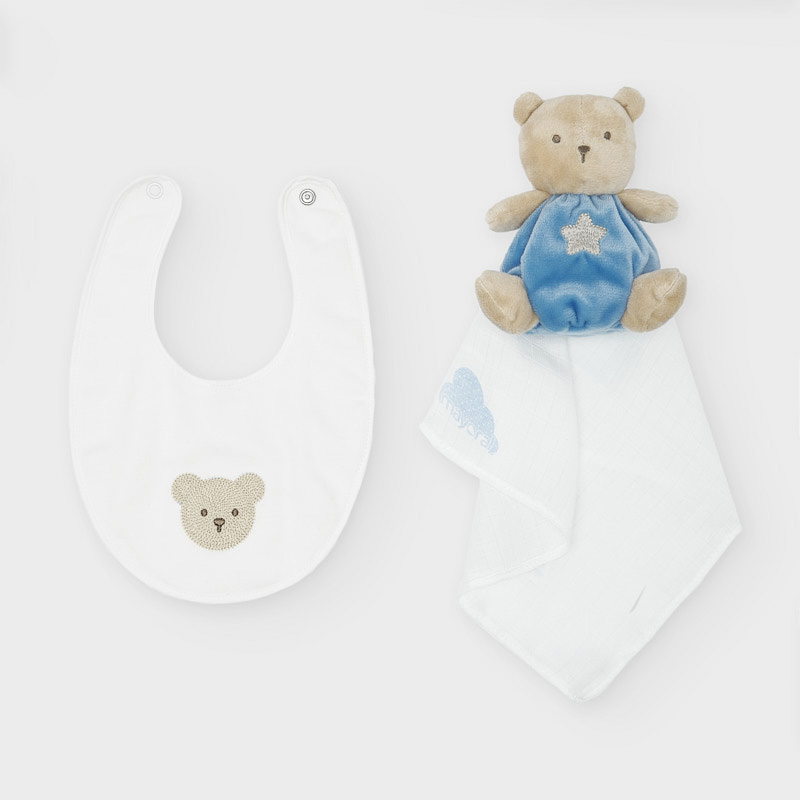 MAYORAL BABY Set Toy and Bib Blue 19810-047 NOW £12.95