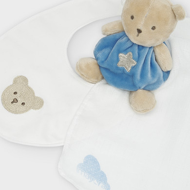 MAYORAL BABY Toy with muslin sheet and bib gift set in blue 19810-047