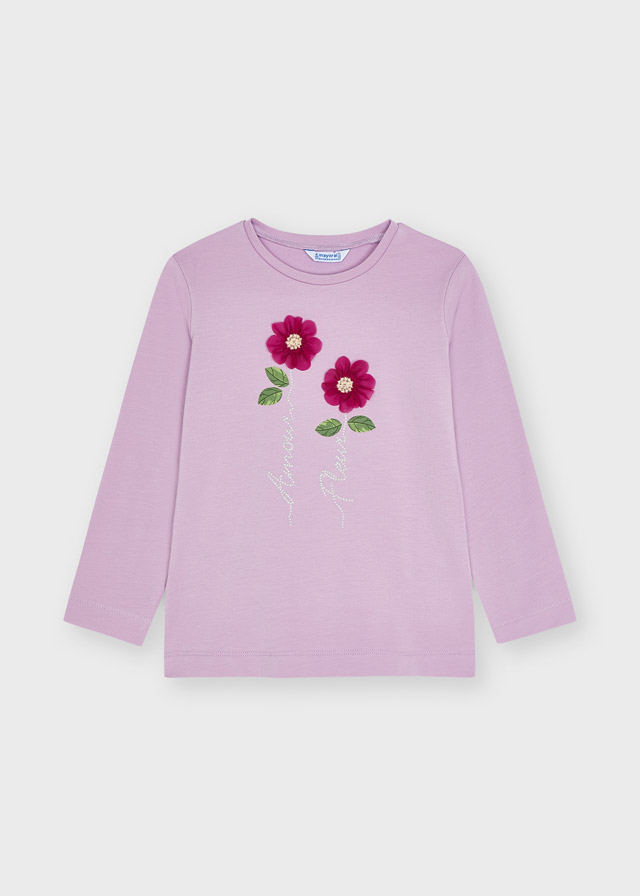 MAYORAL GIRLS Ecofriends Lilac 'Amour Fleur' Long Sleeve T-shirt 4013-34