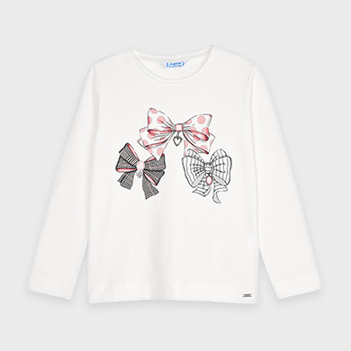 MAYORAL Girls L/S T-Shirt Pink and Grey Bows 4068-30