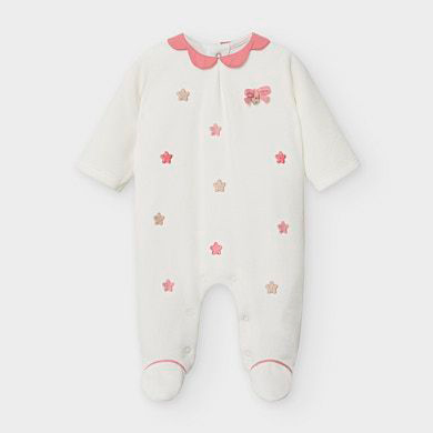 MAYORAL Baby Girl Embroidered velour onesie 2751-089