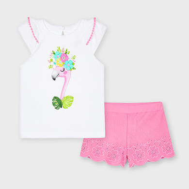 MAYORAL GIRLS Set Shorts with Embroided Shirt 3217-012 NEW SEASON