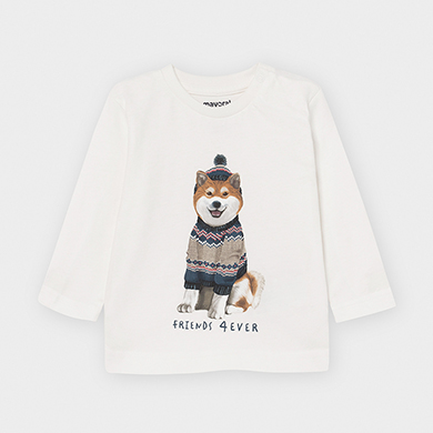 MAYORAL Boys T-Shirt Long Sleeved 'Dog' White 2050-38 NOW £5