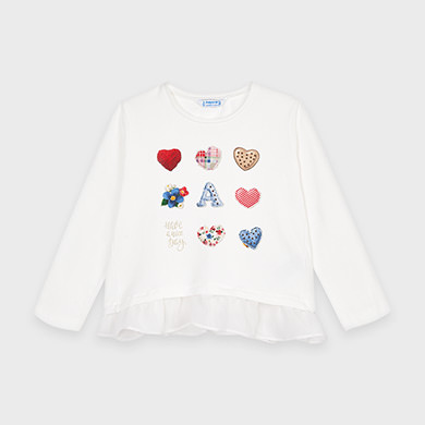 MAYORAL Girls T-Shirt 'Hearts' 4063-010 NOW £7.50