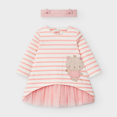 MAYORAL Baby Girl Striped Cat Tulle Dress with headband Blush 2853-96