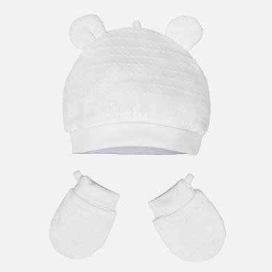 MAYORAL BABY Hat & Mittens Set White 19916-039