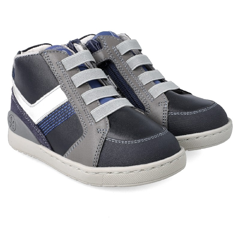 BIOMECANICS BOYS Navy, Grey and White High-top Trainers 201213-A