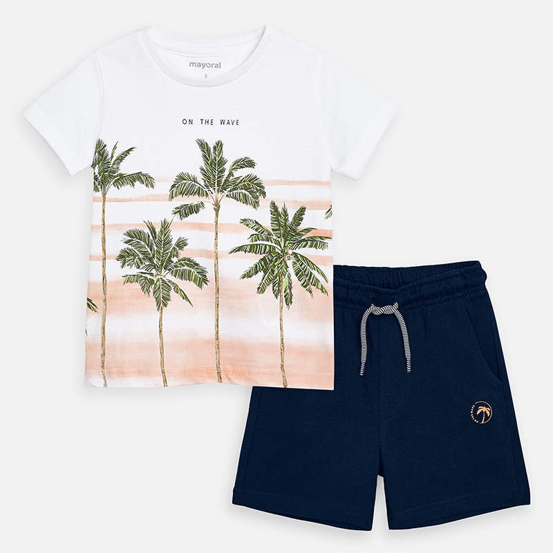 MAYORAL Boys t-shirt and shorts set- Palms 3621-096. Before £22.95