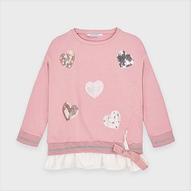 MAYORAL Girls Sweatshirt 'Hearts' 4401-071 NOW £12.95
