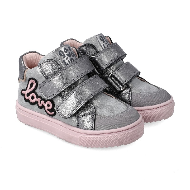 """GARVALIN Girls Ankle Boots Silver and Pink """"Love"""" 201361-B NOW £35.95"""