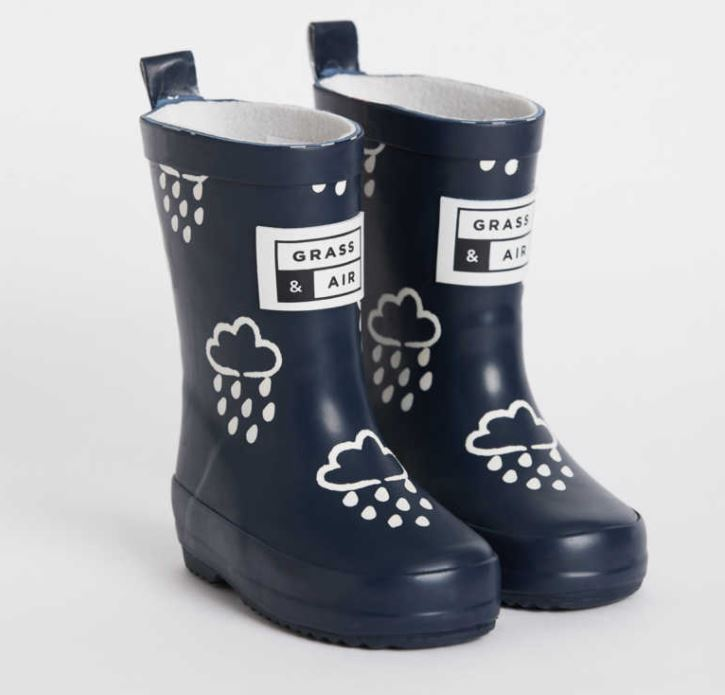 GRASS AND AIR Navy Colour-Revealing Wellies