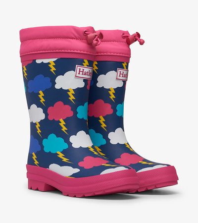 HATLEY Sherpa Lined Rain Boots Lightening Clouds