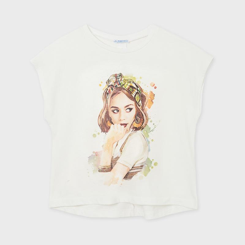 MAYORAL TEEN GIRL Back Knot Printed T-Shirt 6014-076