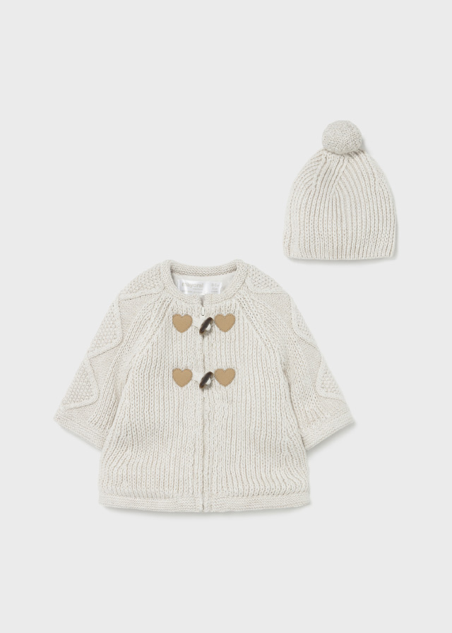 MAYORAL BABY GIRL Woven Knit Cardigan and Hat 2365-32