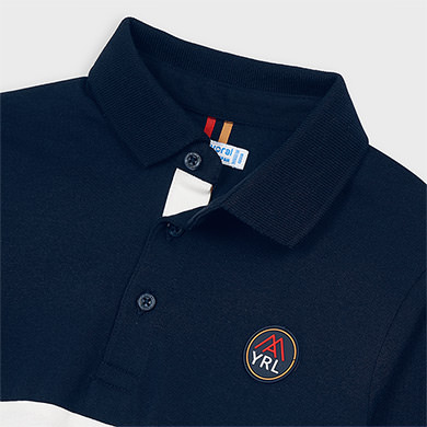 MAYORAL Boys Polo Shirt Navy/Red 4129-074 NOW £7