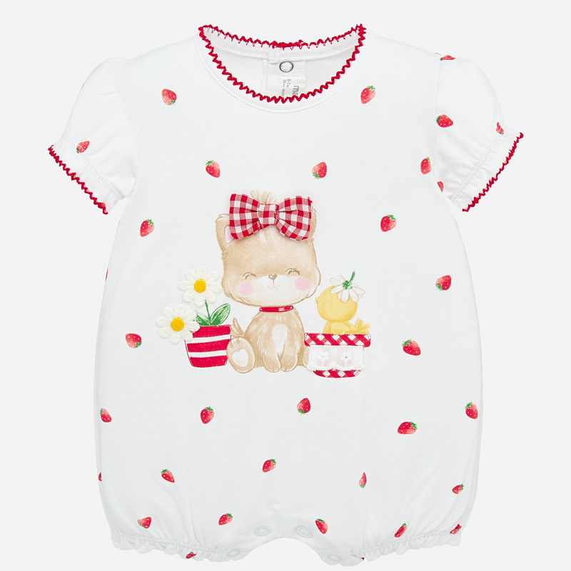 MAYORAL BABY Girl Puppy and Duck Red Romper 1758. Before £13.95