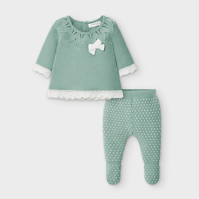MAYORAL Baby Girls Knit footed leggings set. Teal. 2549-030