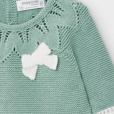 MAYORAL Baby Girls Knit footed leggings set. Teal. 2549-030