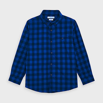 MAYORAL Boys Shirt 'Gingham Pattern' Blue 4144-029 NOW £12