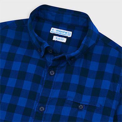 MAYORAL Boys Shirt 'Gingham Pattern' Blue 4144-029 NOW £12