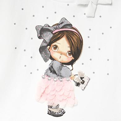 MAYORAL Baby Girls doll print pink t-shirt 2054-050