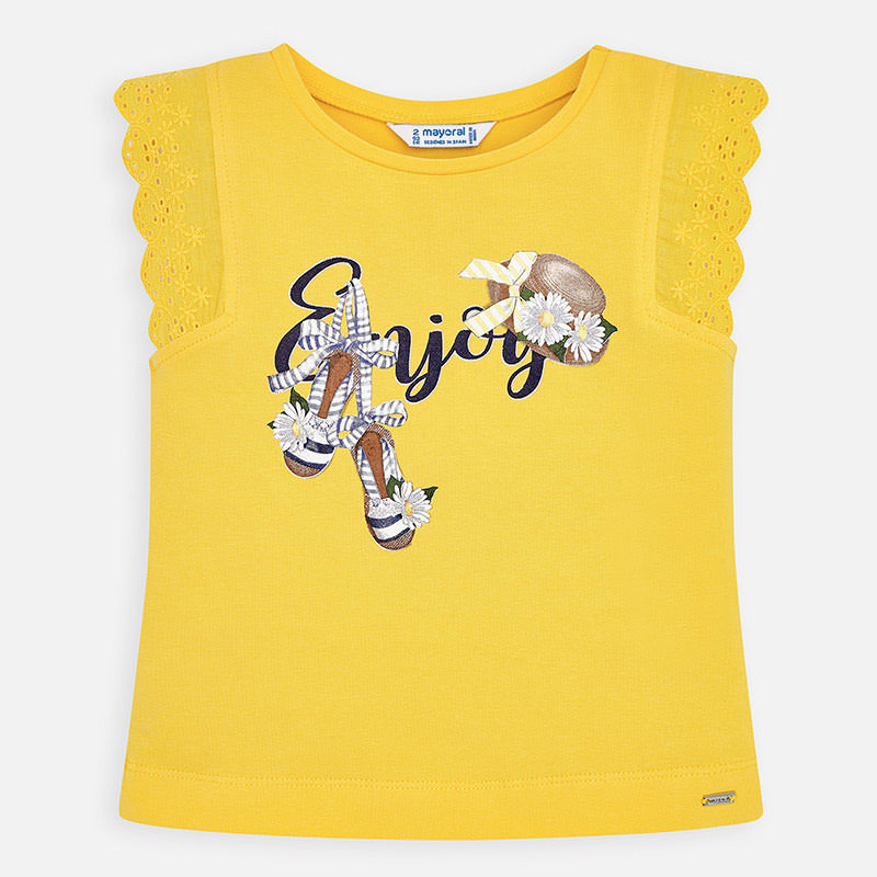 MAYORAL Girls Sleeveless t-shirt 'Enjoy' 3024-060. Before £13.95