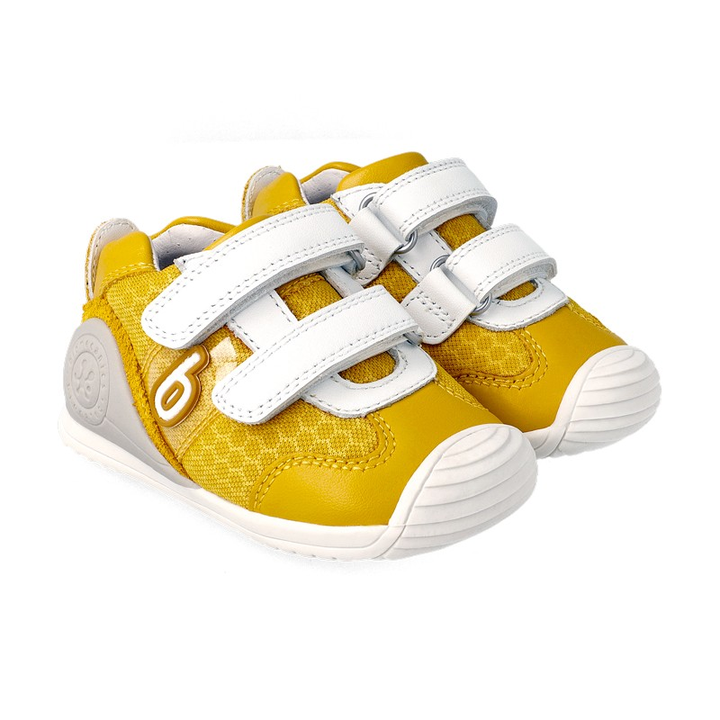 BIOMECANICS BOYS/ GIRLS Banana and White Trainers 212155B