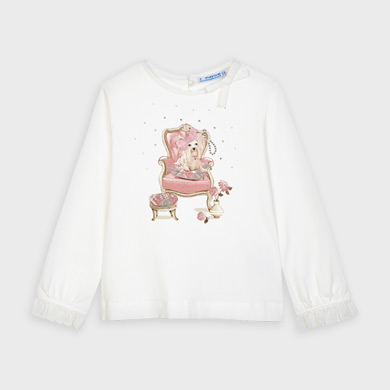 MAYORAL Girls L/S T-Shirt Dog with Bow 4061-66