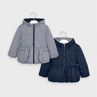 MAYORAL Girls Reversible Coat Navy/ Houndstooth 4414-40