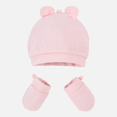 MAYORAL Girls Set Hat & Mittens Pink 19916-037