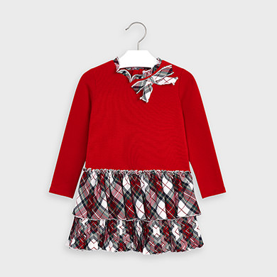 MAYORAL Girls Dress Check Red 4978-065