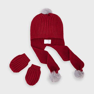 MAYORAL Boys/Girls Set Hat & Gloves Set Red 9315-023 NOW £9.95