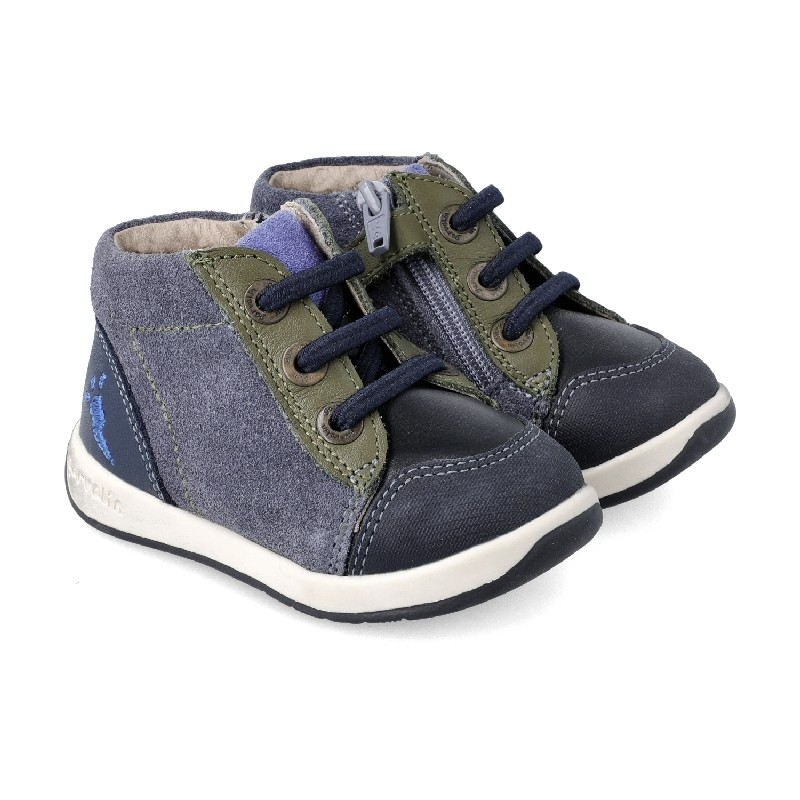 GARVALIN Boys Ankle Boots Elastic laced and zipped 201331