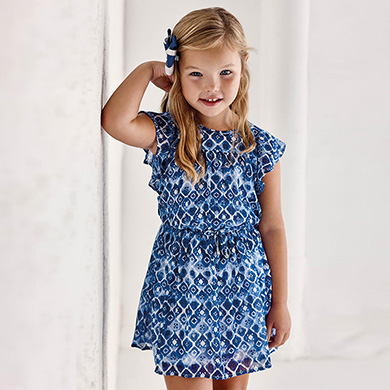 MAYORAL GIRLS Chiffon Print Dress 3937-054 NEW SEASON