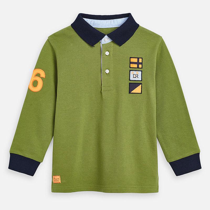 MAYORAL Boys Polo Shirt L/S Green Selva 3160-055. Before £17.95