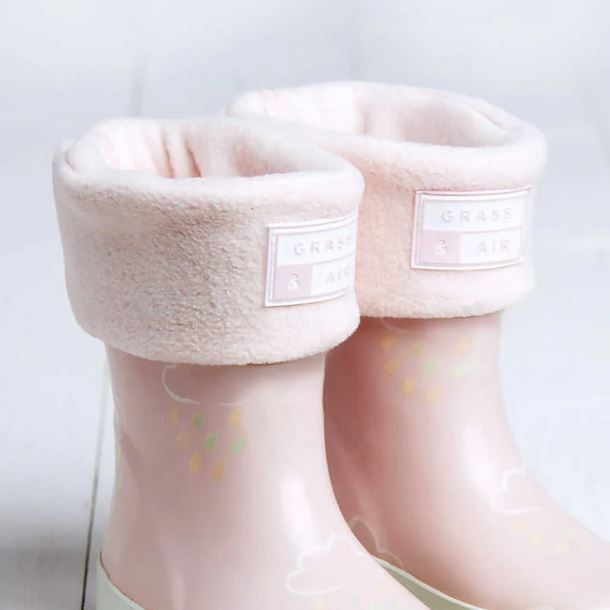 GRASS AND AIR GIRLS Pink Welly Boot Sock