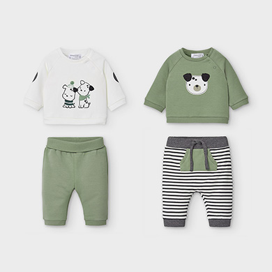 MAYORAL Boys Set 4 Pieces 'Puppies' Olive 2639-063 NOW £16.95