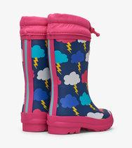 HATLEY GIRLS Sherpa Lined Rain Boots Lightening Clouds