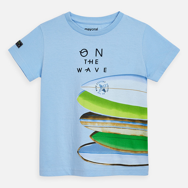 "MAYORAL Boys T-Shirt S/L  Sky ""On the wave"" 3067-54"